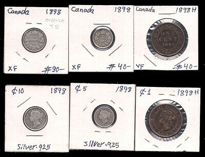 Canada - 1 Large Cent & 5 & 10 Cents - 1898 - Silver - Cv $170
