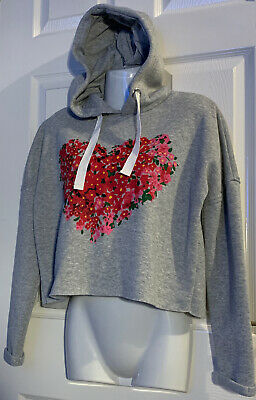 Girls Grey Heart Floral Cropped Hoodie UK Size 6 Age 10/12