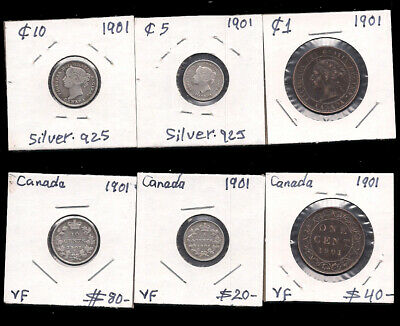 Canada - 1 Large Cent & 5 & 10 Cents - 1901 - Silver - Cv $140