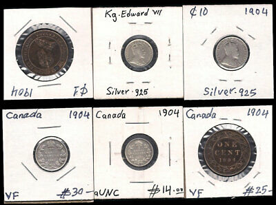 Canada - 1 Large Cent, 5 & 10 Cents 1904 Silver Cv $69