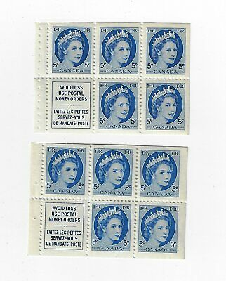 CANADA MINT NH  2 X 341a  PANE FROM STITCHED & STAPPLED BK QE 11 WILDING  MNH
