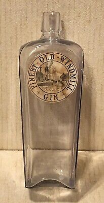 Antique Finest Old Windmill Gin Whiskey Bottle Orig. Label Blob Top 19th Century