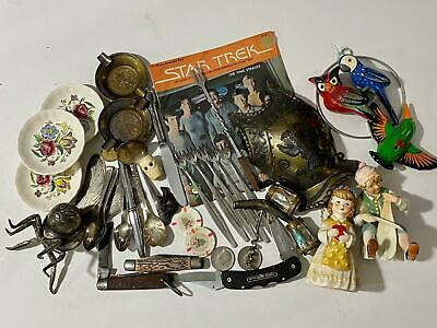 Vtg Lot Estate Grandpa Pocket Knife Ashtray Silverplate Kennedy Coins Junk