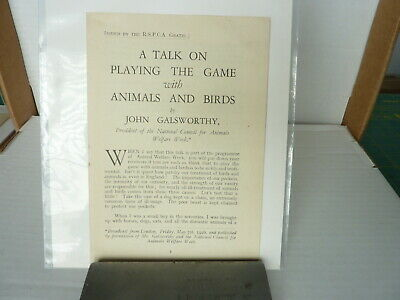 A Talk on Playing The Game with Animals and Birds by John Galsworthy 1st ed 1926