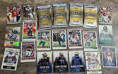 2020 Leaf Draft Football Unopened pack lot of 4 plus 30 more cards all shown