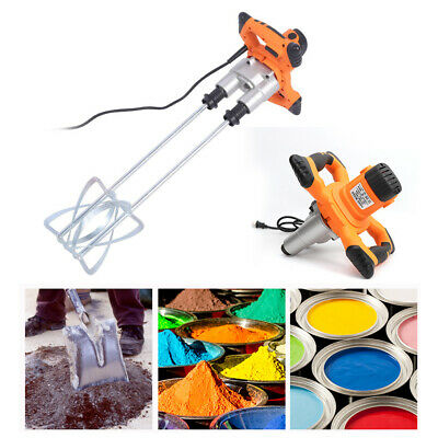 1600W Electric Mortar Mixer Cement Plaster Paint Stirrer Twin Paddle Powerful