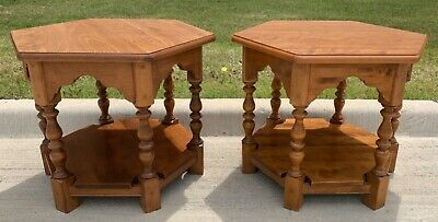 *BEAUTIFUL* Ethan Allen Heirloom Collection Hexagon Lamp Side End Tables Pair