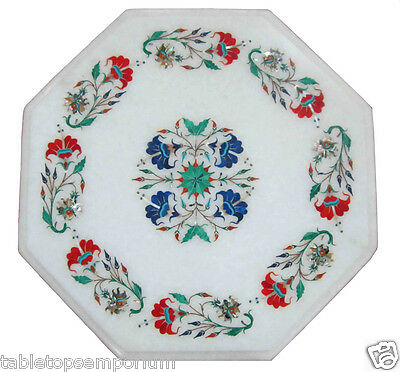 "12"" Marble Coffee Custom Table Top Inlay Marquetry Floral Art Furniture Decor"