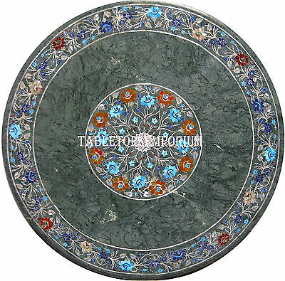 "18"" Granite Marble Restaurent Coffee Table Top Marquetry Semi Precious Inlay Art"