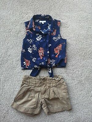 Blue Zoo Aged 4 Girls Outfit. Shorts And Top. Tiger Design Top