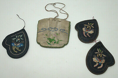 Pieces of 19th Century Chinese Needlework - Silk Purse & poss Snuff Bottle Cases