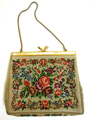 VINTAGE PURSE Petit Point NEEDLEPOINT Floral/Mother Of Pearl Gold Frame accent