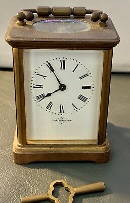 Antique MAPPIN & WEBB Brass Carriage Clock Not Currently Working Cond + Key