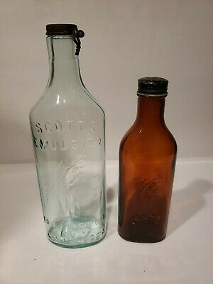 Cod Liver Oil Bottles - Blue Aqua and Amber - with caps! - Nice Pair - Scott's
