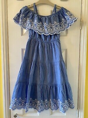 Girls Blue Broderie Anglais Summer Dress maxi style aged 7 Years TU