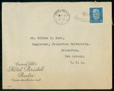Mayfairstamps Germany Hotel Bristol to Princeton University Cover wwe_99715
