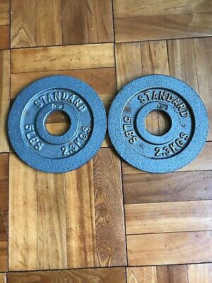 "Two (2) 5 Lb CAP Standard 2"" Olympic Weight Plates 10 Lbs Total ⚡️FAST SHIP⚡️"