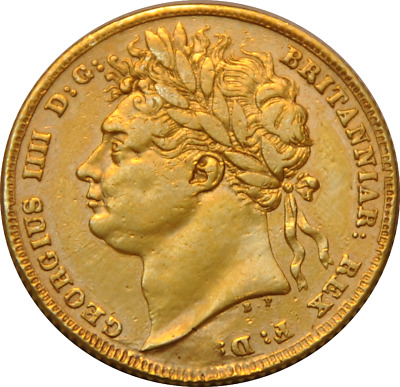 1824 George IV IIII Laureate Gold Full One Sovereign Great Britain