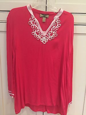 NEW! Ladies Blouse Top Size XL Fuchsia Rose Hot Pink Color NWT