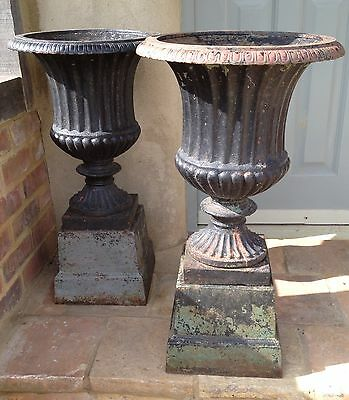 Antique Jardiniere Cast Iron French Old Garden Ornaments Plinth Base From Pair