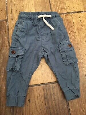 Next Baby Boys 6-9 Months Pale Blue Cuffed Cargo Style Joggers Jogging Bottoms