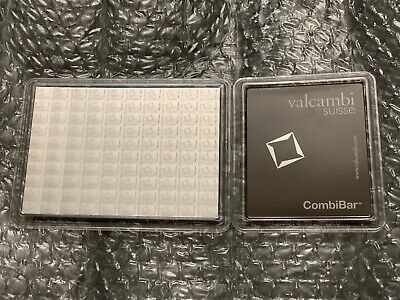 100 Gram Valcambi Suisse Silver CombiBar .999 fine (100x1g w/ Assay) Fractional
