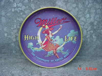 Rare Purple Color Vintage Miller High Life Girl On Moon Round Metal Tray