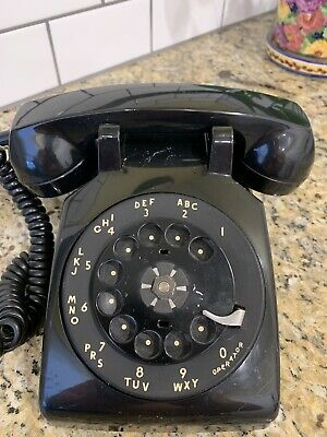 Vintage Black Rotary Dial Desk Phone ITT 50000 BA20M 11-74 Telephone Receiver