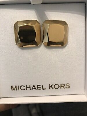 Michael Kors Earrings Gold Tone Square With Box