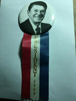 Ronald Reagan Portrait President 1980 Campaign Button and Ribbon