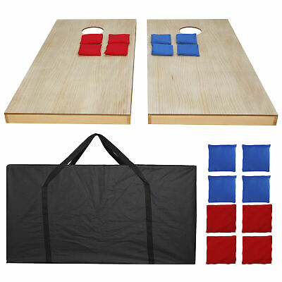 4x2' Unfinished Solid Wood Bean Bag Toss Cornhole Board Game Set Size Carry Bag
