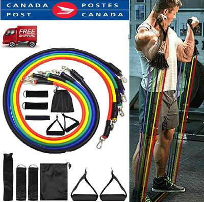 New 11Pcs Set Resistance Bands  Workout Exercise Yoga Crossfit Fitness Tubes CA