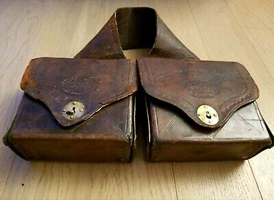 Antique Civil War Doctor Medical Saddle Bags Original Bottles Solid Leather