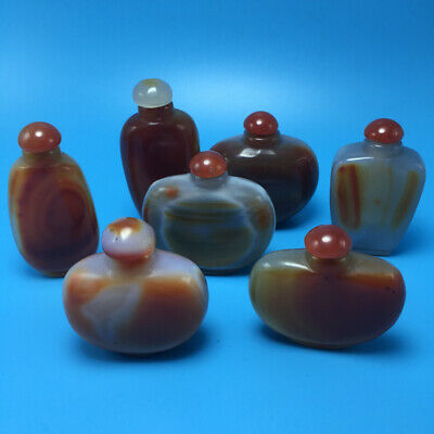 Collectible Old Natural Red agate Jade Inside Hollow Snuff Bottle Random 1PCS