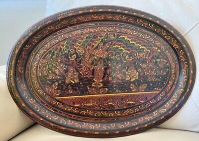 Antique Tray Burmese Lacquer Oriental Edwardian 1920s Hand Painted 1910s Vintage