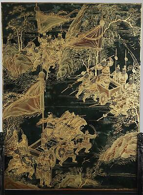 Pair Stunning Chinese Qing Dynasty Gilt and Silvered Spinach Jade Table Screens
