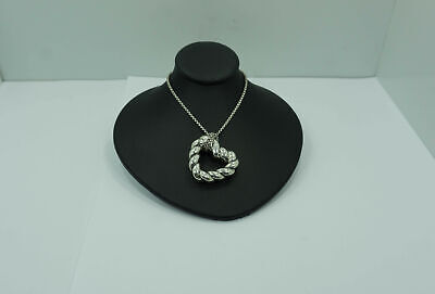 "DAVID YURMAN -  Cable Open 1"" Heart Necklace - Sterling Silver - 24"""