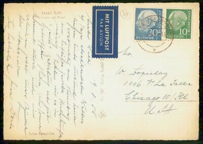 Mayfairstamps Germany 1950s to Chicago Airmaail Postcard wwf879