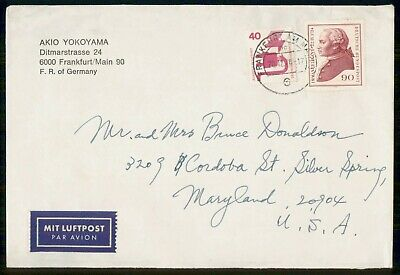 Mayfairstamps Germany 1976 Frankfurt to Maryland Airmail Cover wwf863