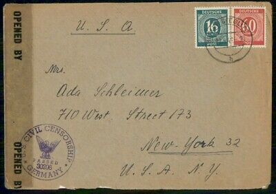 Mayfairstamps Germany 1946 Censored to New York Cover wwf875
