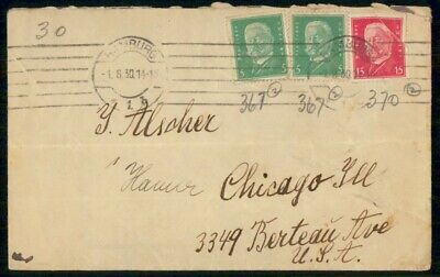 Mayfairstamps Germany 1930 Hamburg to Chicago Cover wwf523