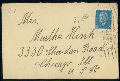 Mayfairstamps Germany 1930 Hamburg to Chicago Cover wwf521