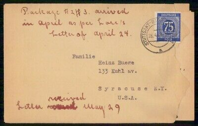Mayfairstamps Germany 1947 Stuttgart to Syracuse NY Cover wwf_00327