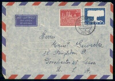 Mayfairstamps Germany 1958 Hannover to Dorchester MA Cover wwe_99561
