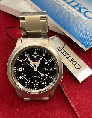 Seiko 5 Automatic SNK809 Military Black Dial Watch Stainless Steel Bracelet