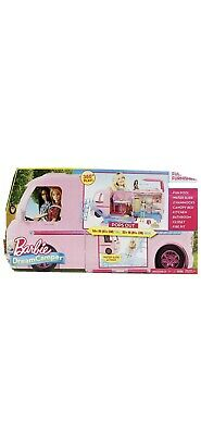 Brand New Mattel Barbie Dream Camper Pink RV Bus Home Van Motor Playset