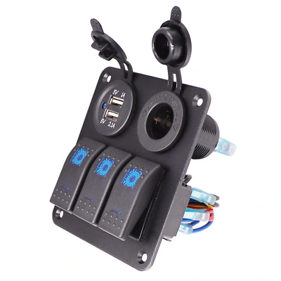 Car Boat Rocker Switch Dual USB Ports 31A 21A1A Waterproof  Switch Panel