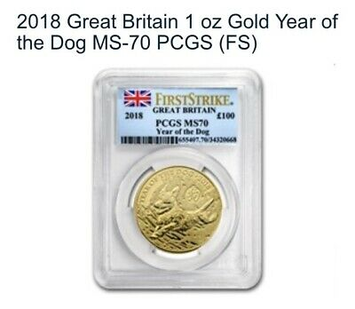 2018 Great Britain 1 oz Gold Lunar Year of the Dog MS-70 PCGS Very Rare