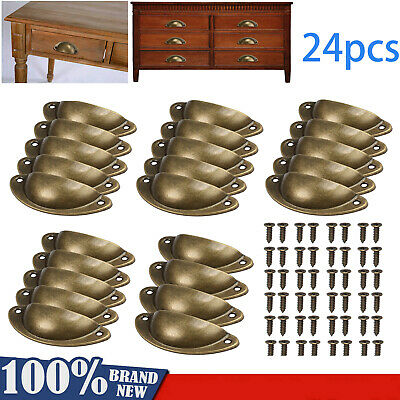 24X Antique Retro Shell Cupboard Door Cabinet Knob Drawer Furniture Pull Handle