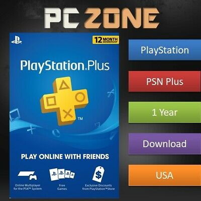 Sony PlayStation Plus 1 Year Membership - PSN US Store - 365 Days - 12 Months